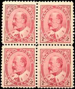 Canada-90-mint-F-VF-OG-NH-1903-King-Edward-VII-2c-carmine-Block-of-4-CV-225-00