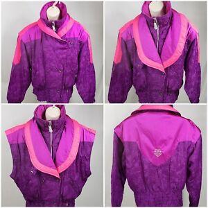 VTG-OBERMEYER-Van-Gogh-Pink-Purple-Ski-Jacket-ZIP-OFF-SLEEVES-Women-039-s-8