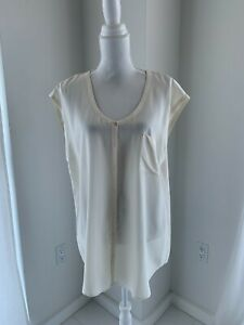 Eileen Fisher Cream Sleeveless Washable Silk Scoop Neck Button Blouse Top SZ L