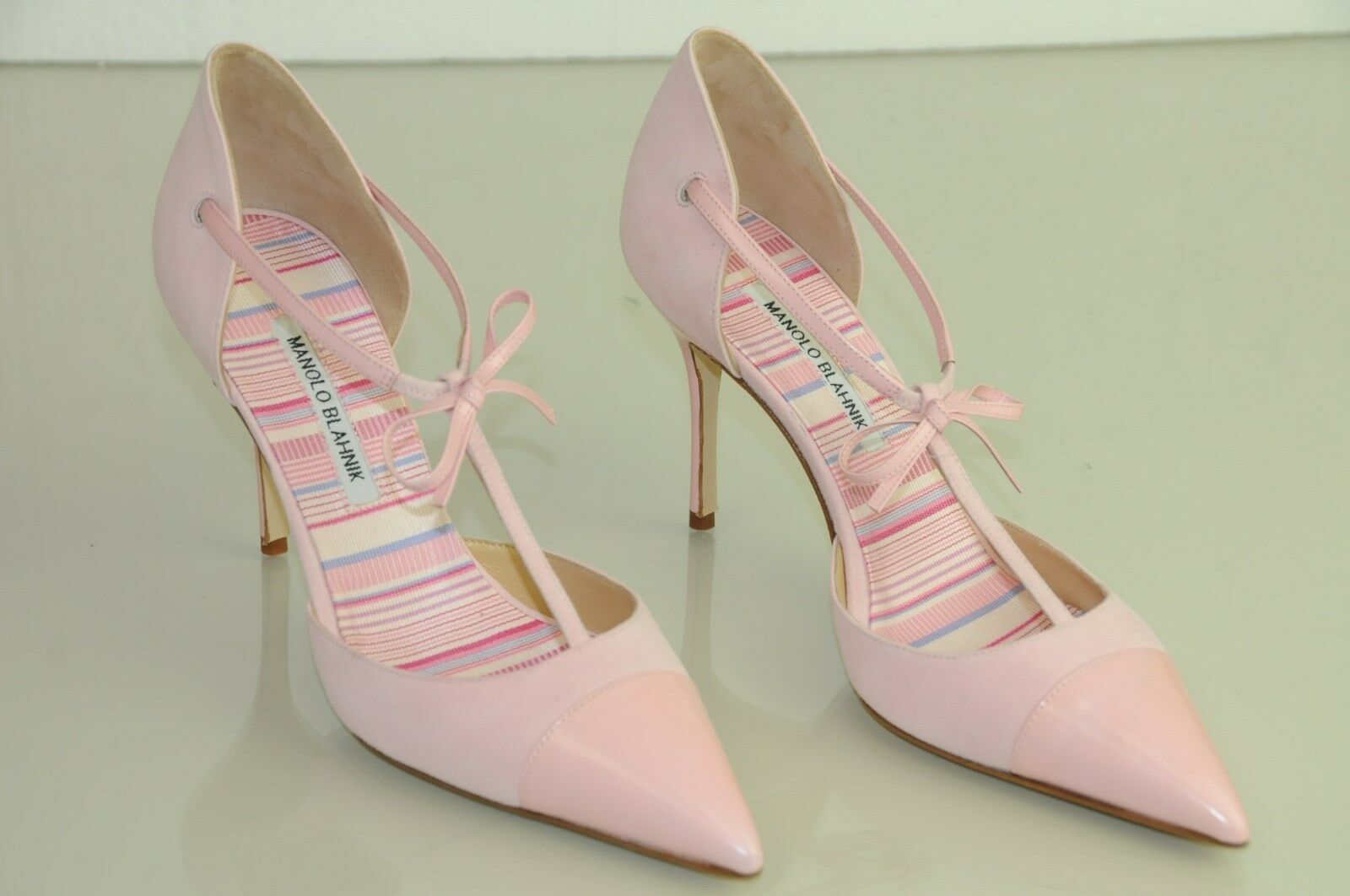 Neuf Femmeolo Blahnik Parigatama Rose Cuir Daim Chaussures Cheville Bride Cheville Chaussures 41 41.5 8cdee8