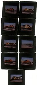 Nine-1999-kodachrome-Photo-slides-BNSF-Santa-Fe-railroad-Train