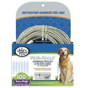 Four-Paws-Heavy-Weight-Overhead-Trolley-Dog-Pet-Tie-Out-Cable-Exerciser-100-ft