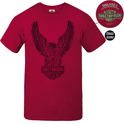 Harley Davidson Mens Rough Upwing Red T-Shirt Swansea Limited Edition