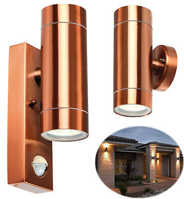 PIR Stainless Single External Outside Wall Light With With Motion Sensor Down UK