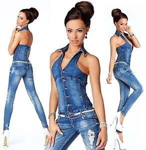 Sexy New Women's Denim Wash Blue Jeans Playsuit Jumpsuit ...