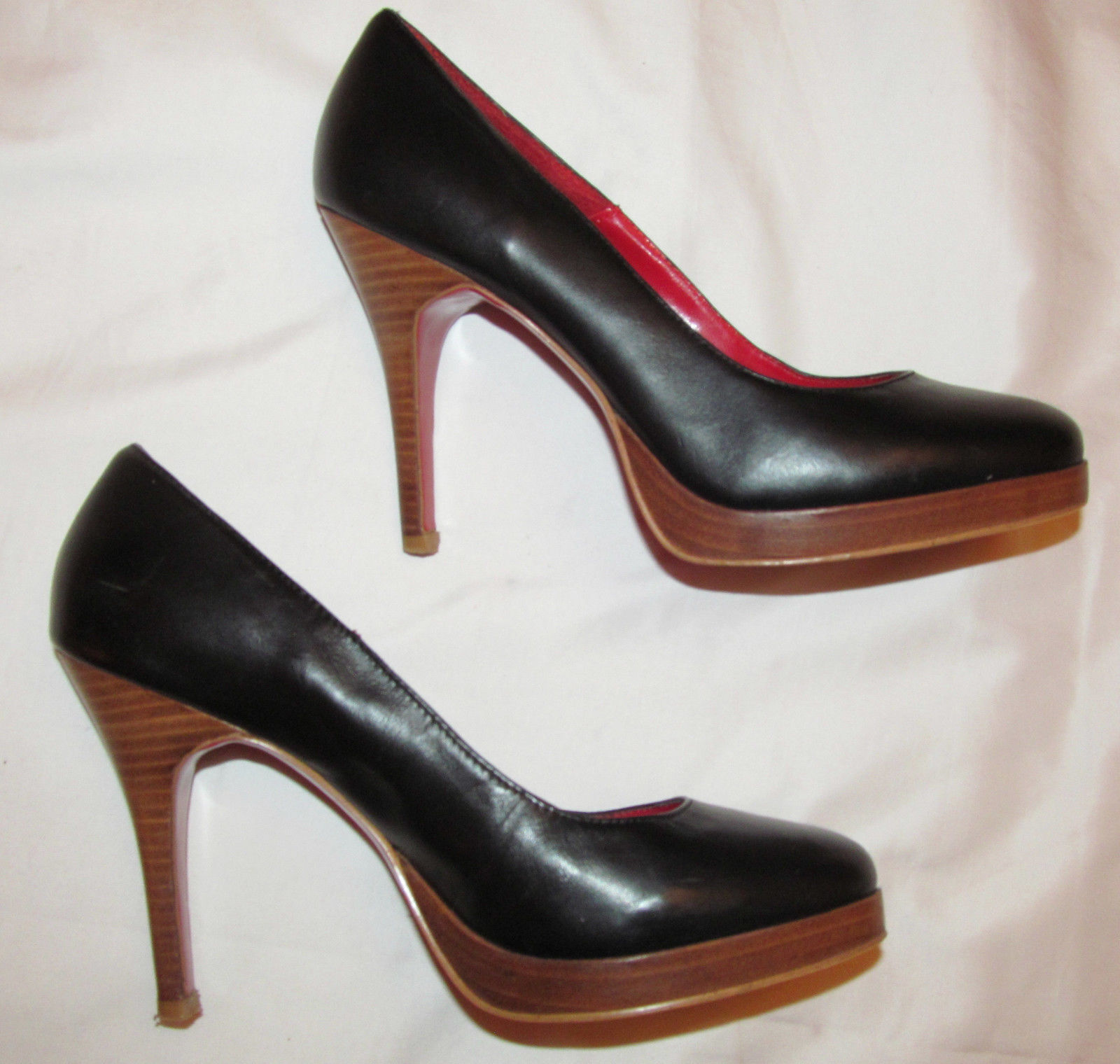 JEFFREY JEFFREY JEFFREY CAMPBELL schwarz leather and wood platform heel pumps schuhe 8 M  a3ecc4