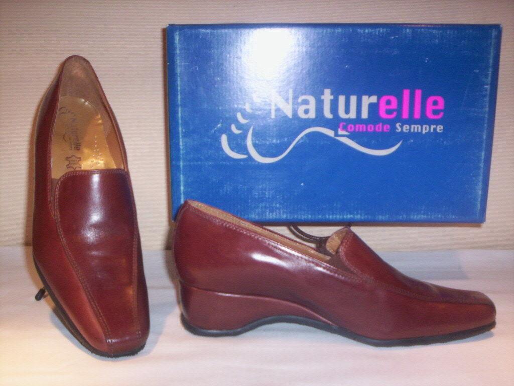 klassische Schuhe komfortabel Mokassins Naturelle Frau Gaucho Keilabsätze Leder