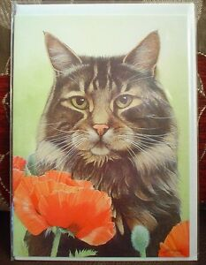 Lovely-Cat-And-Poppy-Blank-Greeting-Card