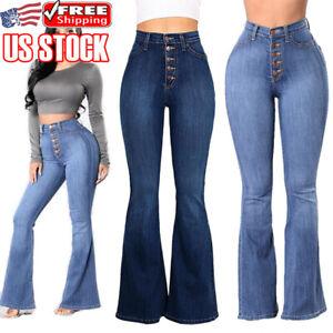 c7ae228097c364 Women Skinny Slim Fit Flare Denim Jeans Retro Bell Bottom Stretch ...