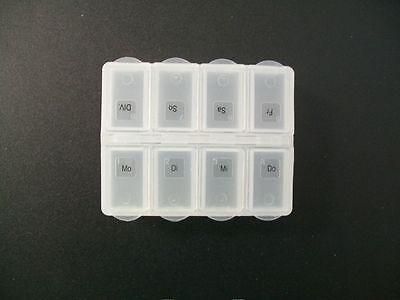 Tablettenbox, Pillendose für 1 Woche / 8 Fächer