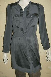 GERARD-DAREL-Taille-40-Superbe-chemise-longue-SOIE-tunique-grise-manches-longues