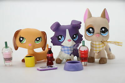 3lot Littlest Pet Shop lps Great Dane 1647 Purle Collie 1676 Yellow Dachshund