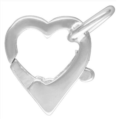 Perles Bijoux Fermoir catch 12mm Argent Sterling Forme de Cœur Collier Perles