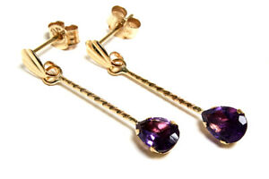 9ct Gold Amethyst Teardrop earrings Boxed Made in UK