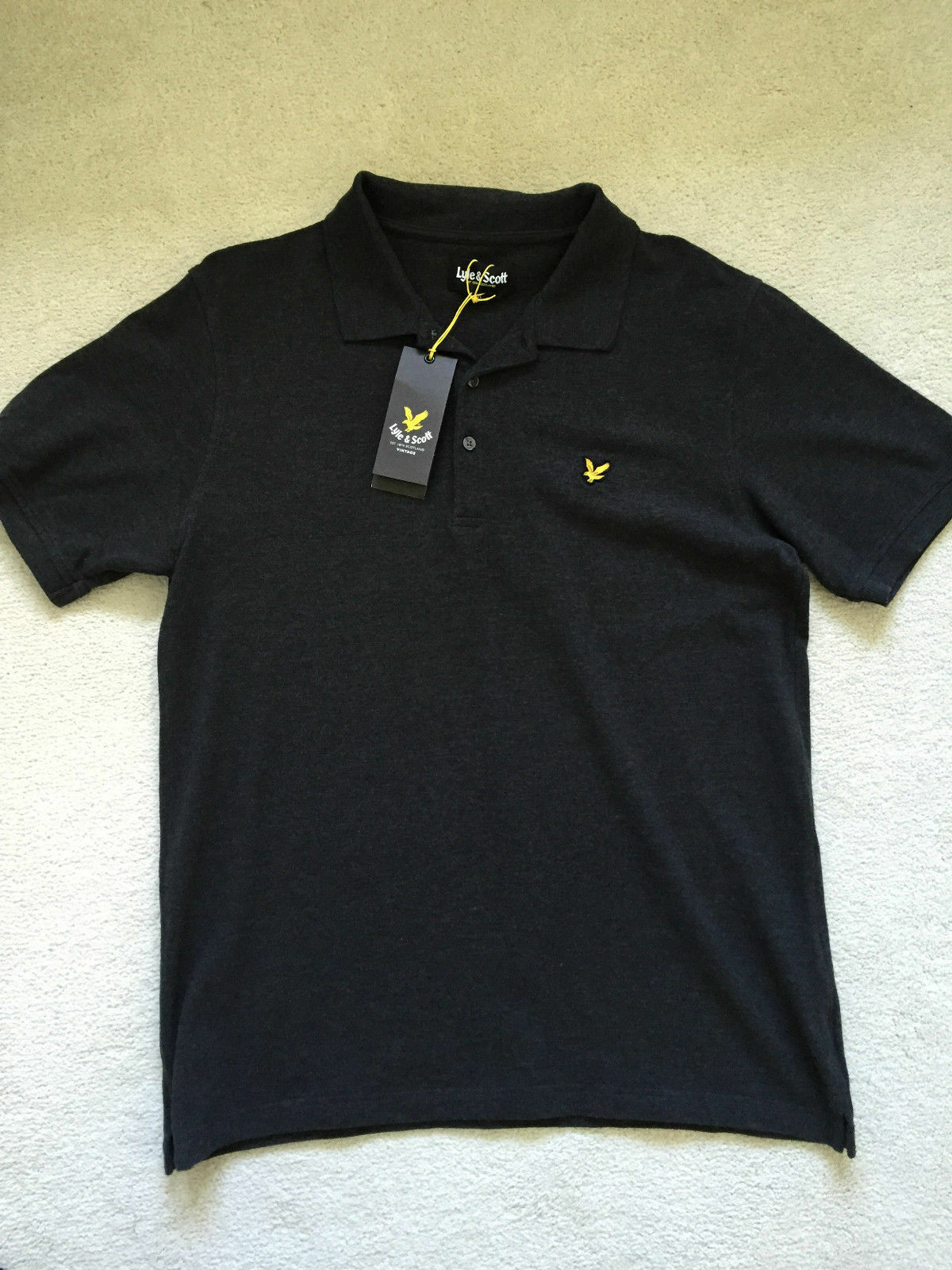 LYLE & SCOTT  MENS POLO SHIRT Marl   Charcoal - size  XL