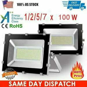 100W-LED-Flood-Light-Cool-White-Outdoor-Spotlights-Garden-Yard-Security-Lamp-NEW