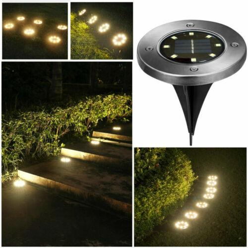 4X//8X LED Bodenstrahler Solar Lampe Bodeneinbauleuchte Garten Leuchte Außenlampe