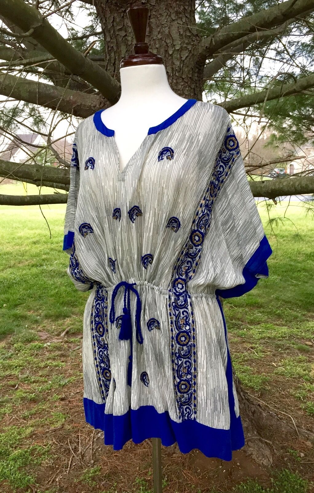 NEW Anthropologie Floreat Beaded Drawstring Embroidered Tunic bluee white S