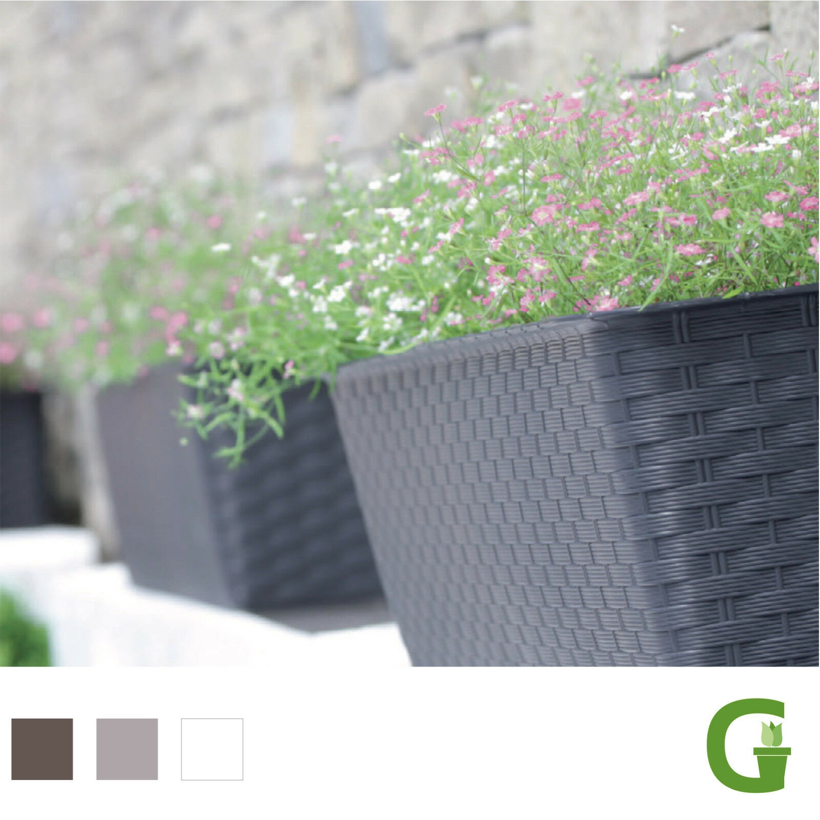 rattan lounge design blumentopf mit bew sserungssystem blumentopf blumenk bel ebay. Black Bedroom Furniture Sets. Home Design Ideas