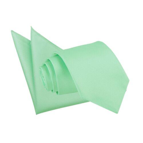 DQT tessuti Plain Solid CHECK VERDE MENTA Formale Da Uomo Slim Skinny Tie Hanky Set