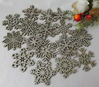 16 Wooden Hanging Silver Glitter Christmas Tree Decorations Star Snowflakes