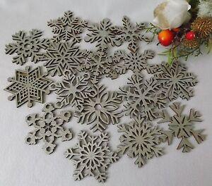 16-de-madera-colgante-purpurina-plateada-arbol-de-Navidad-Decoracion-Estrella