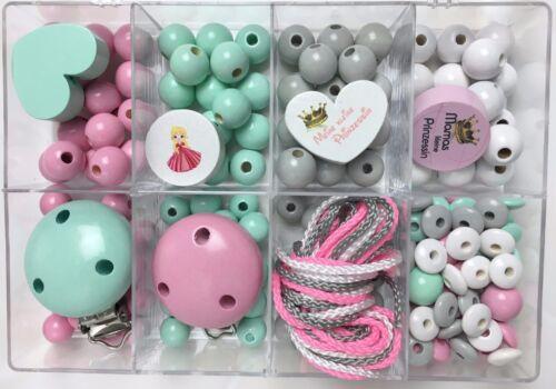 babyrosa  TOP ♥ Bastelbox 20 für  2 tolle Prinzessinnen Schnullerketten MINT