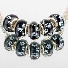 Black white prints 5pcs SILVER MURANO bead LAMPWORK fit European Charms Bracelet