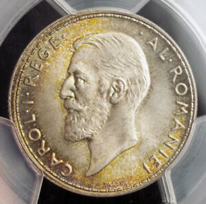 1914-Kingdom-of-Romania-Carol-I-Silver-2-Lei-Coin-None-Higher-PCGS-MS-66