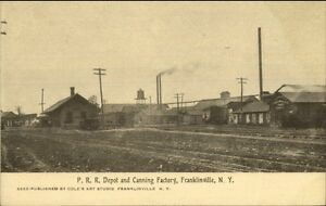 Franklinville-NY-P-RR-Train-Depot-amp-Canning-Factory-c1910-Postcard