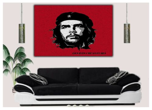 CHE GUEVARA PHOTO IN RED PRINT ON wood FRAMED CANVAS WALL ART Home Decor