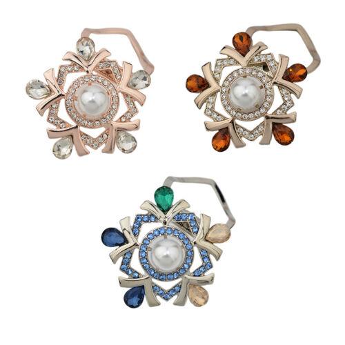 Broche à épingle Fleur Anneau de Perles Cristal Clip Boucle Foulard Bijoux