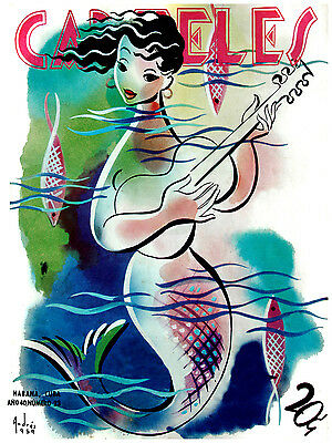 "238.Designer poster""Mermaid playing Guitar.Singing""Musical.Sirenita.Girl room"