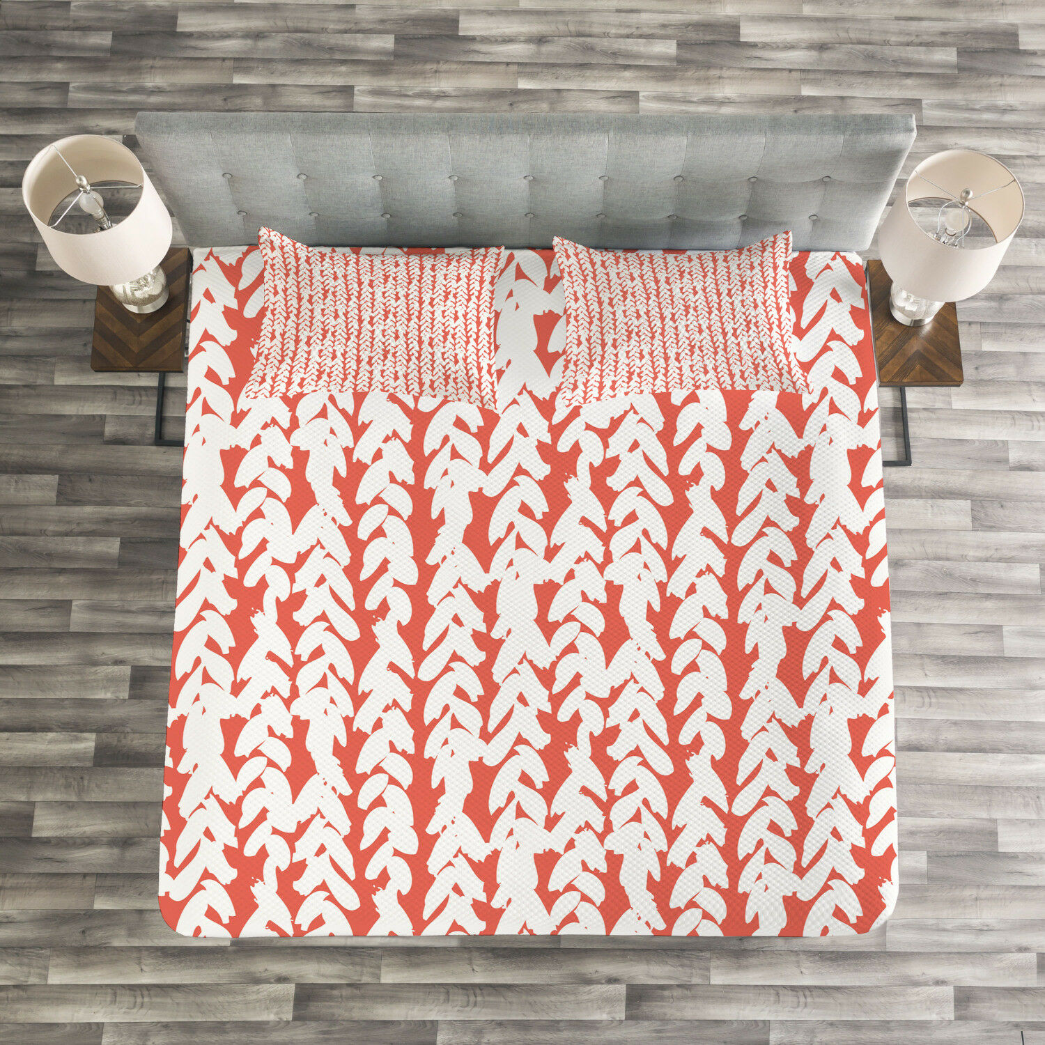 Coral Quilted Bedspread & Pillow Shams Set, Braid Boho Hipster Ethnic Print