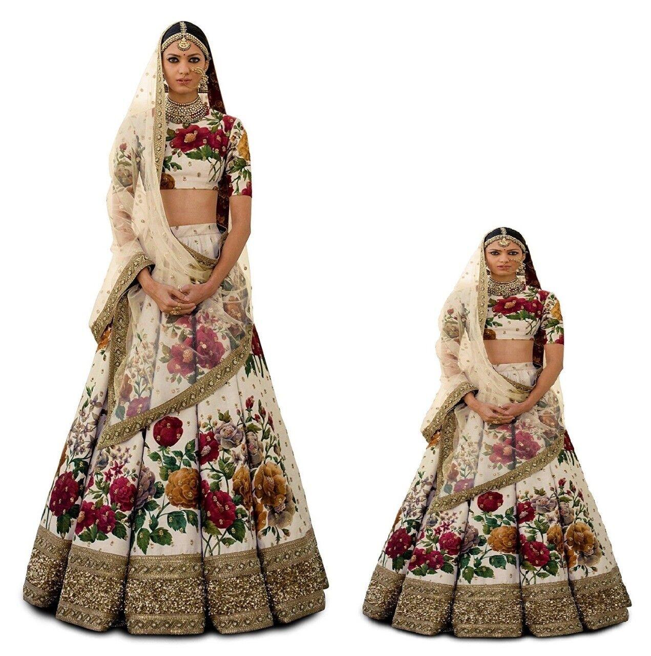 Mom Daughter Lehenga Choli Cream Floral Wedding Designer Kids Lehenga Blouse Set