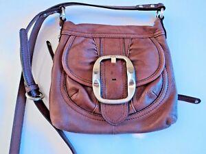 Image Is Loading B Makowsky Brown Leather Crossbody Handbag Purse