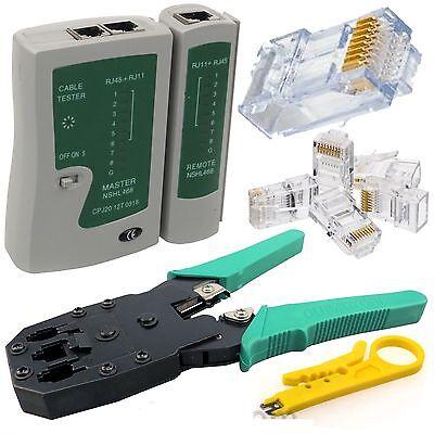 Cable Tester + Crimp Crimper+100 RJ45 CAT5 CAT5e Connector Plug Network Tool TOP