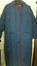 Vintage Bill Blass Down Coat 12 Large Jacket Quilted Long Blue Lined Parka USA