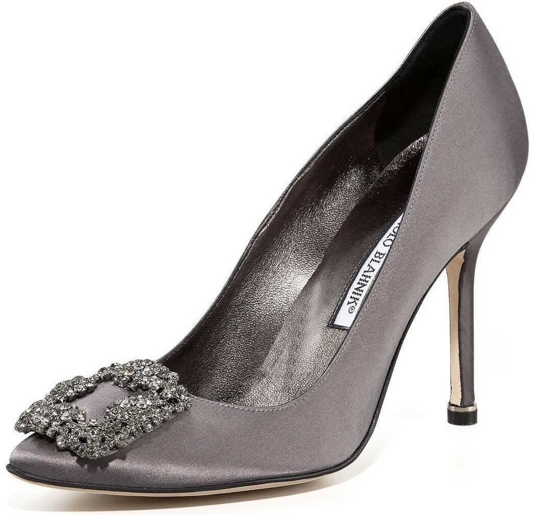 965 NEW MANOLO BLAHNIK HANGISI Grey Satin JEWELED Pumps SHOES 40.5