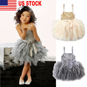 US Toddler Kids Baby Girl Lace Dress Party Prom Bridesmaid Party Pageant Dresses