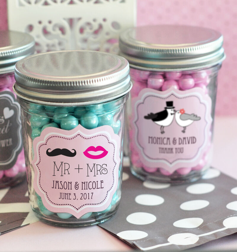 48 Personalized Wedding Theme Mini Mason Jars Wedding Favor Candy Jars