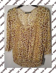 Tan-Animal-Print-Shirt-Blouse-Women-039-s-Plus-Size-1x-or-2x-3-4-Sleeve-New