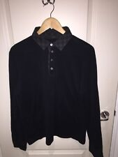 Mens Louis Vuitton Damier Graphite Long Sleeve Polo Shirt Size XL Rare
