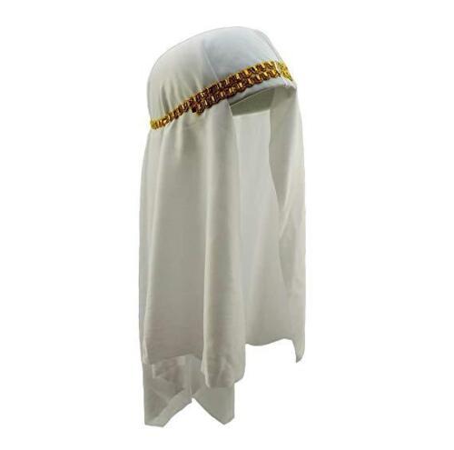 Arabo Sheik Costume Cappello Copricapo Principe del Deserto Sultano arabo Keffiyeh Bianco