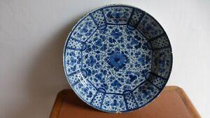DELFT-Ancien-plat-faience-camaieu-bleu-34-cm-XVIIIeme-Antique-Delft-dish-B