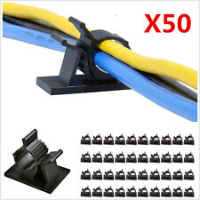 50pc Adjustable Car Cable Wire Adjustable Fastens Organizer Clips Self-Adhesive
