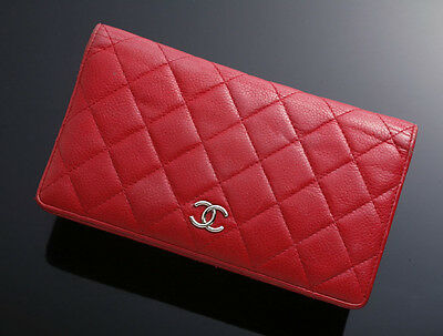 G7329 Authentic CHANEL Matelasse Genuine Leather Bifold Long Wallet