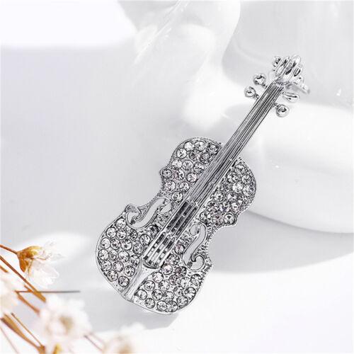 Women Gold Silver Plated Crystal Violin Scarf Brooches Rhinestone Bro MA