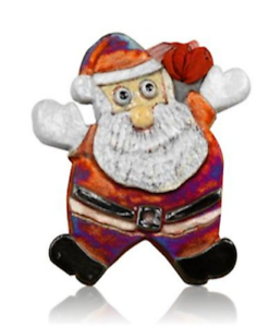 Art Pottery Handmade Raku Santa Ornament Signed