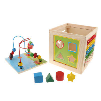 Activity Cube Toys Baby Educational Wooden Bead Maze Shape Sorter for 1 Year Old